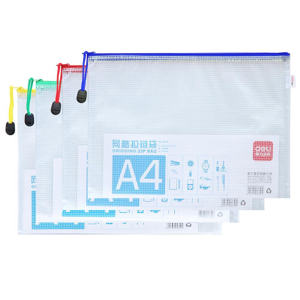 Deli PVC Mesh Zip Bag A4 E5654