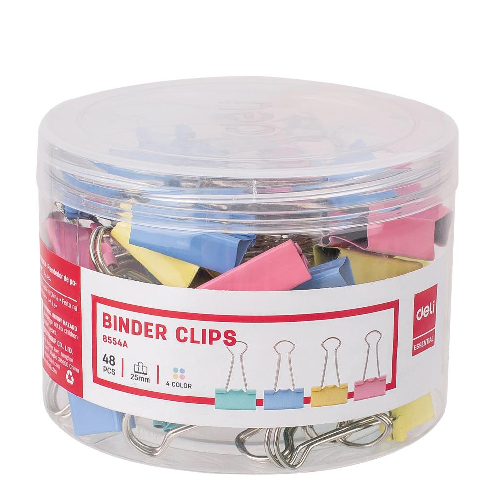 Deli Colourful Binder Clips 25mm Pack of 48 E8554