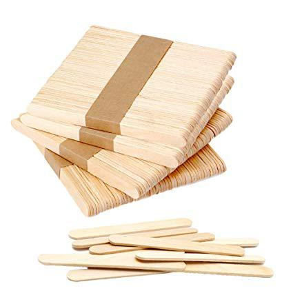 Large Wooden Ice Cream Popsicle Sticks 150 x 18mm Set of 50