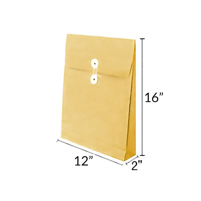 Manilla Kraft Envelope with Button and String 12 x 16 x 2 Inch