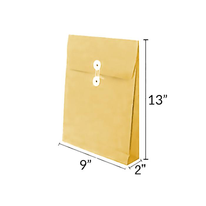 Manilla Kraft Envelope with Button and String 9 x 13 x 2 Inch