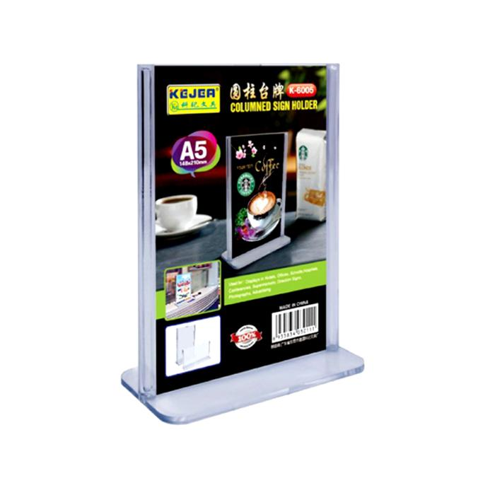 Acrylic T Shape Card Display Stand A5 Size Portrait K6005