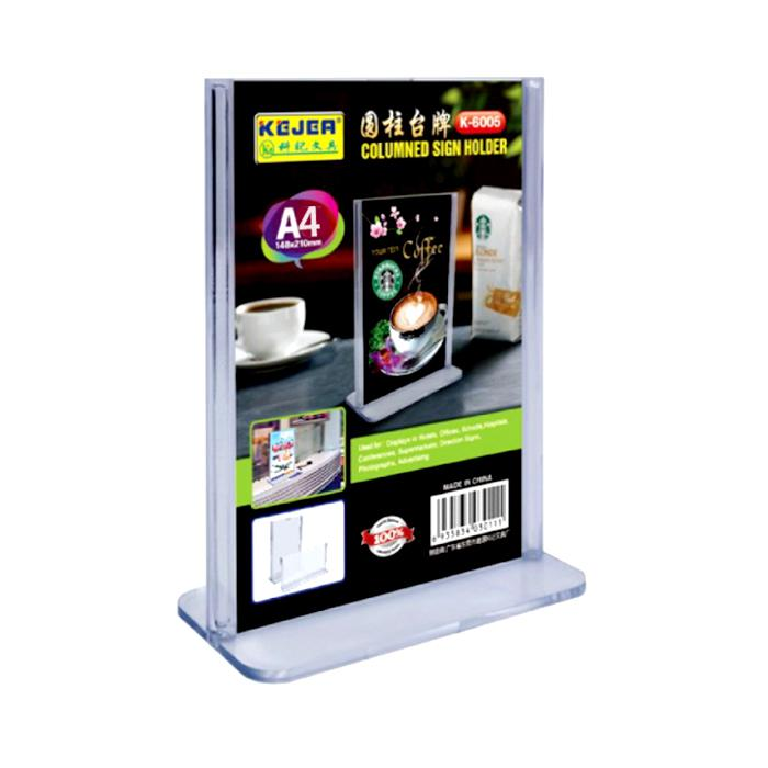Acrylic T Shape Card Display Stand A4 Size Portrait K6006