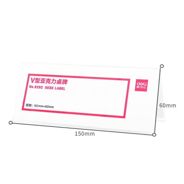 Deli V Shape Acrylic Card Stand 150 x 60mm 9292