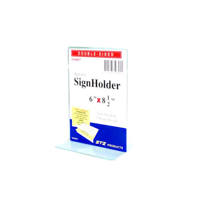 STZ Acrylic Sign Holder 6 x  8.5 Inch Vertical 50807