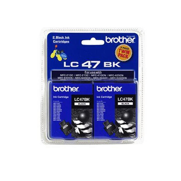 Brother Black Ink Cartridge Twin Pack of 2 LC47-BK