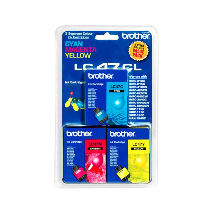 Brother Colour Ink Cartridge Pack of 3 LC47-CL (LC47-C/LC47-M/LC47-Y)