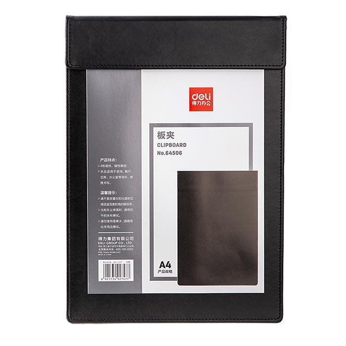 Deli Pu Leather Clip Board Black 64506