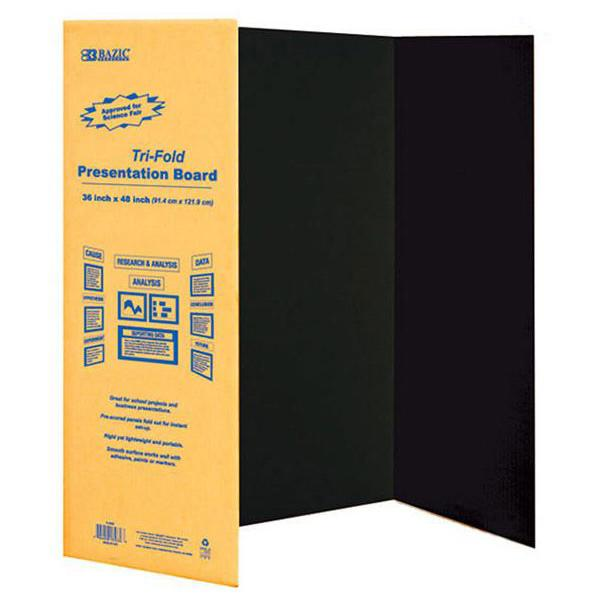 Bazic Trifold Black Corrugated Presentation Board 36 x 48 Inch