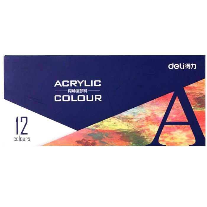 Deli Acrylic Paint 12 Colours 73856