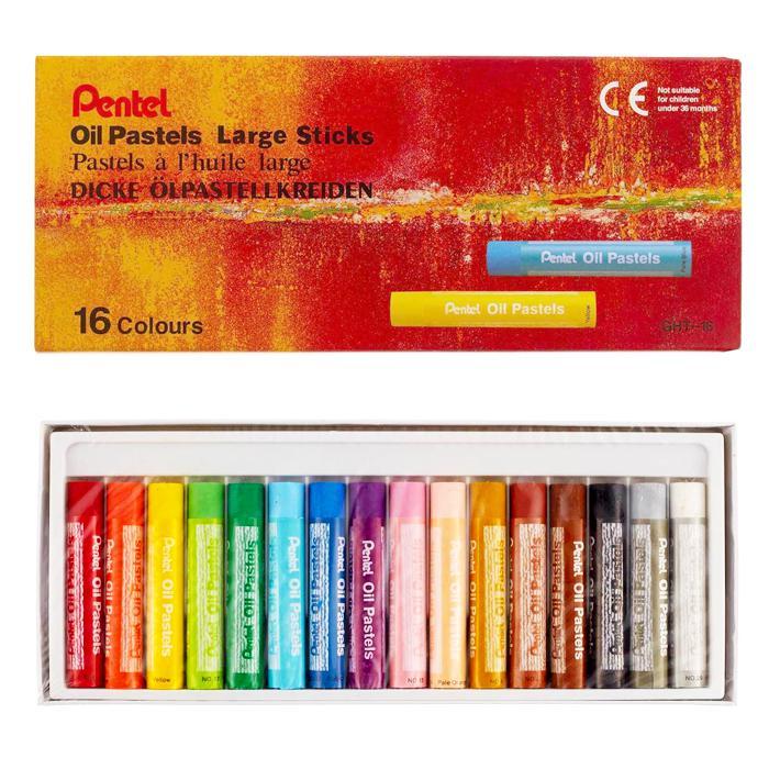 Pentel Oil Pastels Large Sticks 16 Colours GHT-16