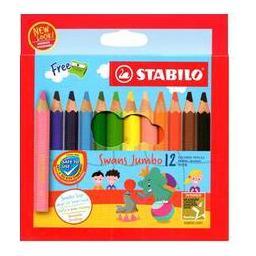 STABILO Swans Jumbo 12 Half Length Colour Pencils 1873J