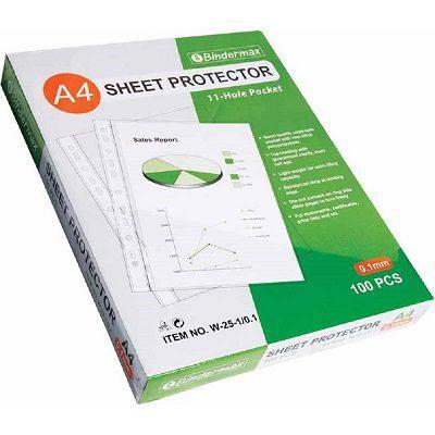 Bindermax Suremark 11 Hole Sheet Protectors A4 0.1mm (W25-1/0.1/SQ-5010)