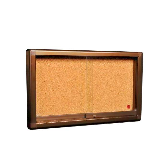 Cork Noticeboard with Sliding Glass Panel 120 x 180cm