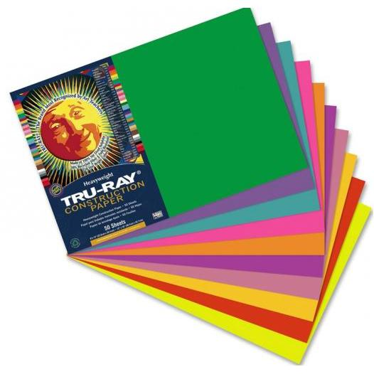 Pacon Tru-Ray Construction Paper 30.5 x 45.7cm (12 x 18 Inch) Pack of 50