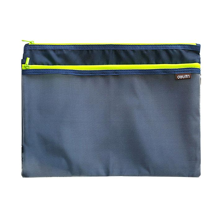Deli Double Layer Zip Bag A4 Size Blue 5841