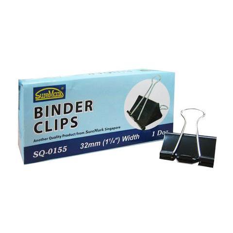 Binder Clips 32mm Box of 12 SQ-0155