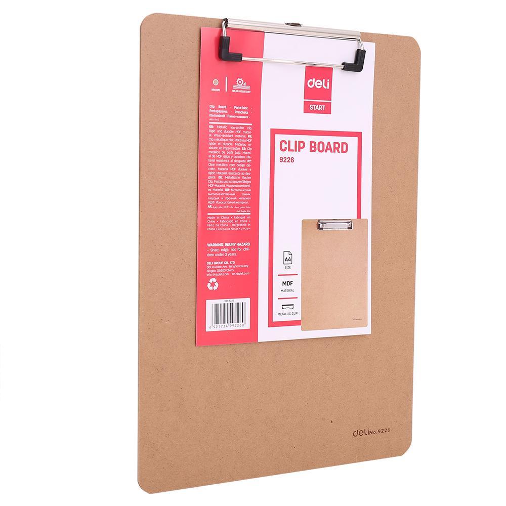 Deli  Mdf Wooden Clipboard A4 9226