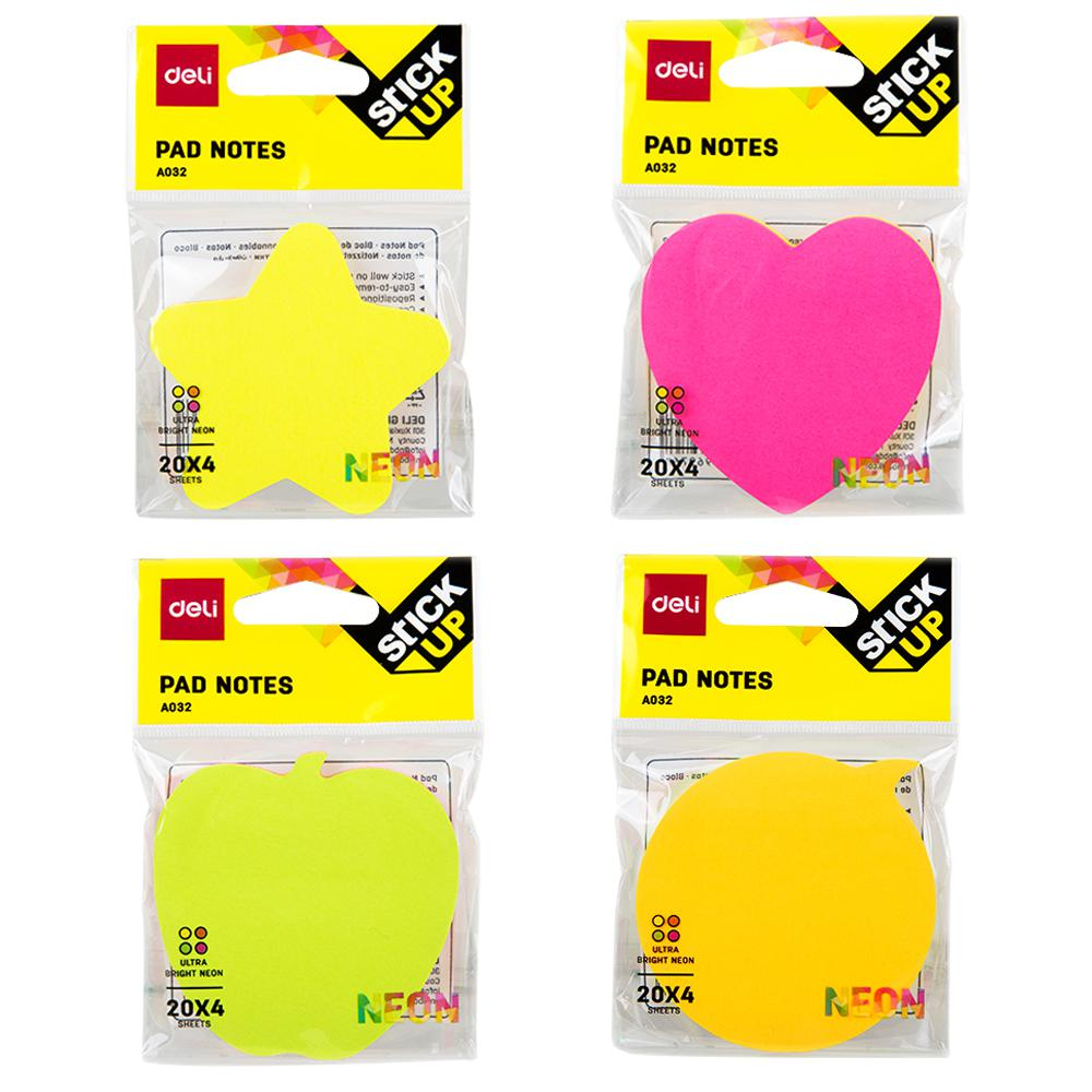 Deli Sticky Notes Shape 76 x 76mm Box of 12 EA03202