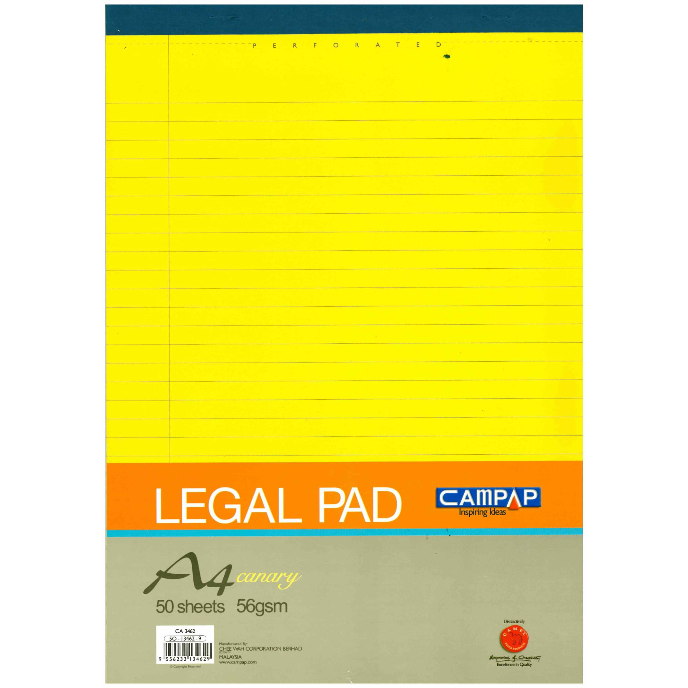 Yellow Writing Pad A4