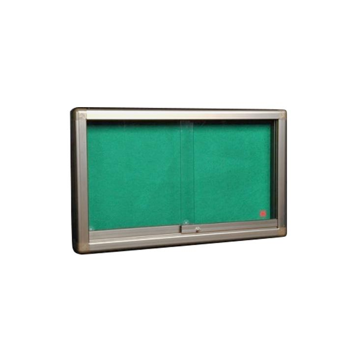 Green Felt Noticeboard with Sliding Glass Panel 90 x 120cm