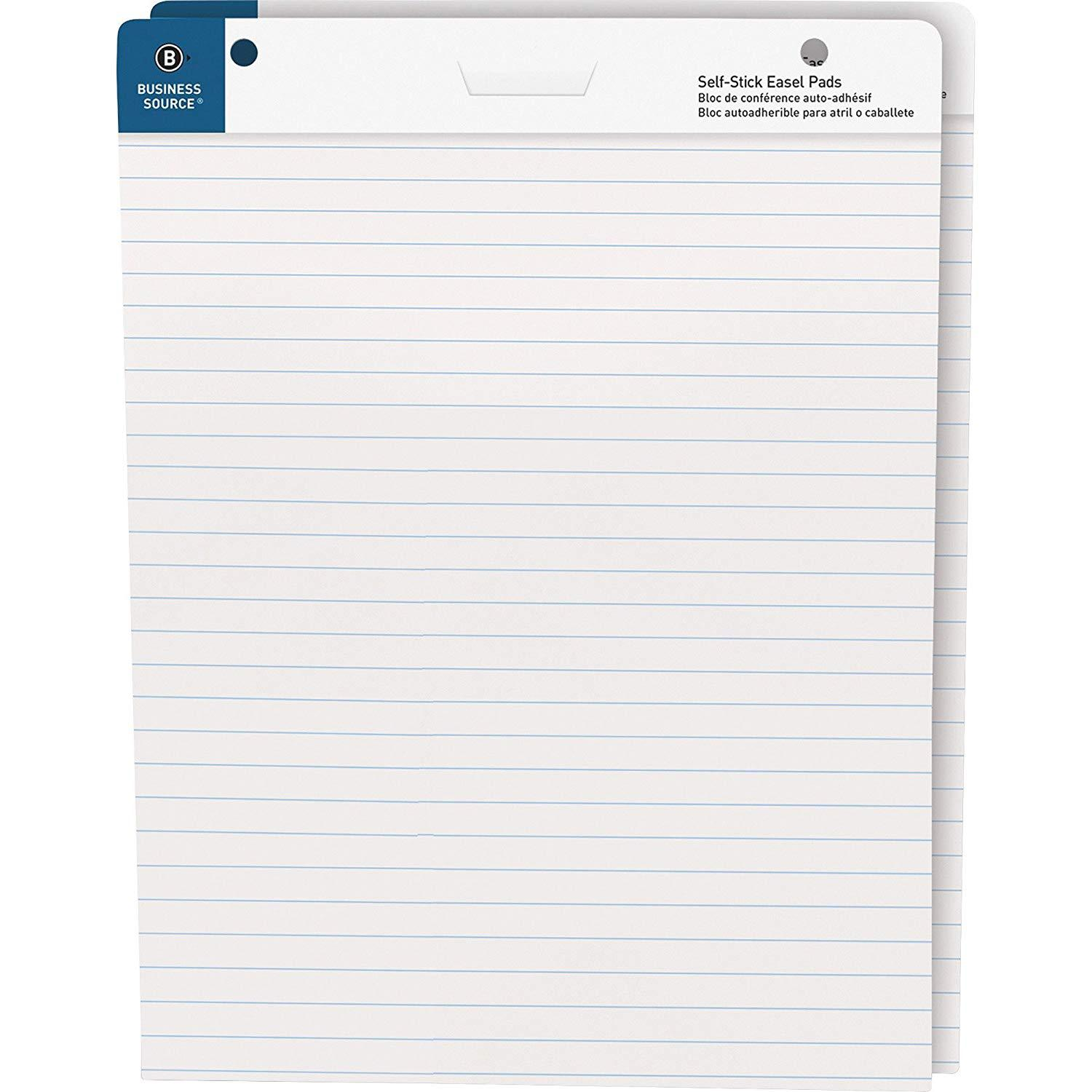 Business Source Self Stick Easel Pad Ruled 25 x 30 inch 30 Sheets Box of 2 Pads