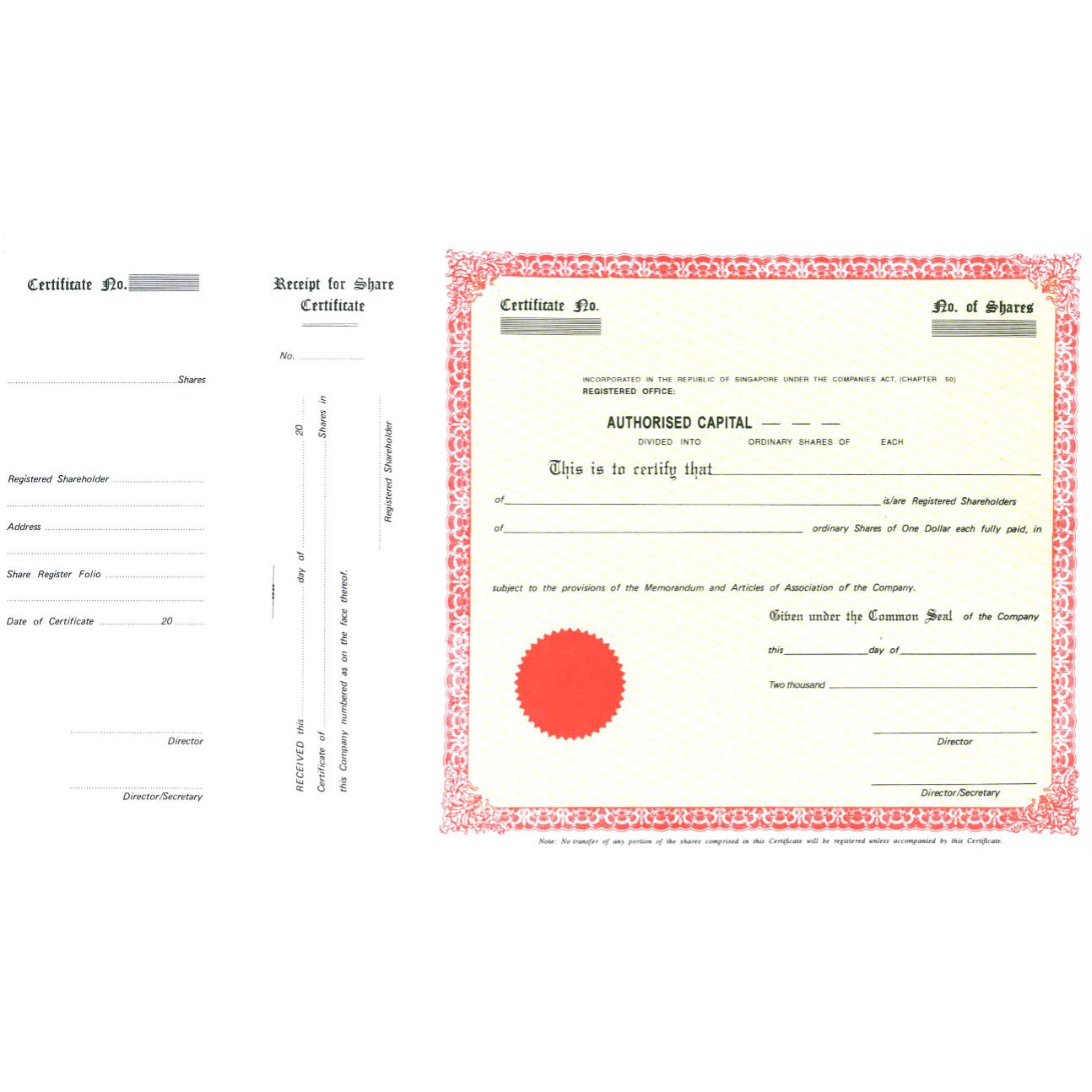 Share Certificate Pack of 10