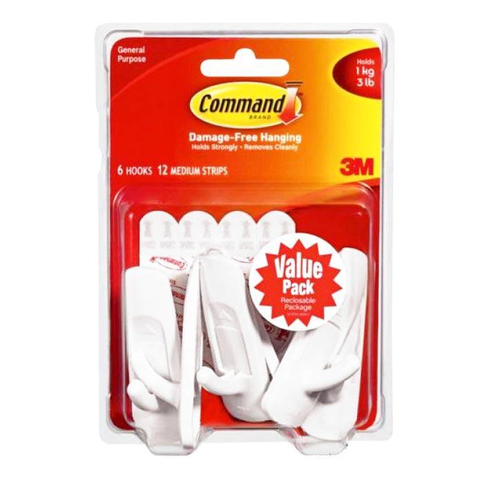 3M Command Medium Hooks Pack of 6 17001-6