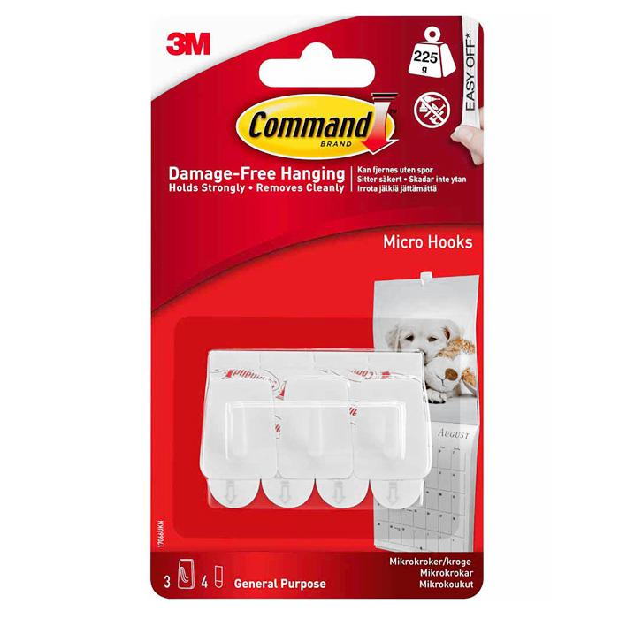 3M Command Micro Hooks Pack of 3 17066