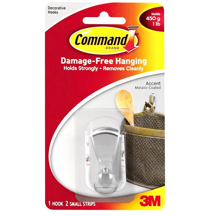 3M Command Accent Hook Small Brushed Nickel 17072BN