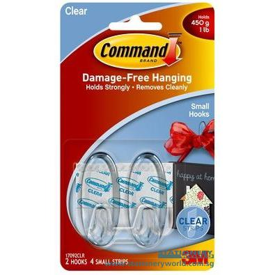 3M Command Small Clear Hooks Pack of 2 17092CLR