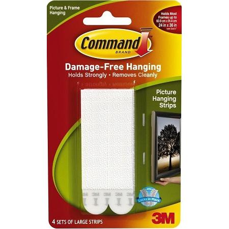3M Command Large Picture Hanging Strips Pack of 4 17206