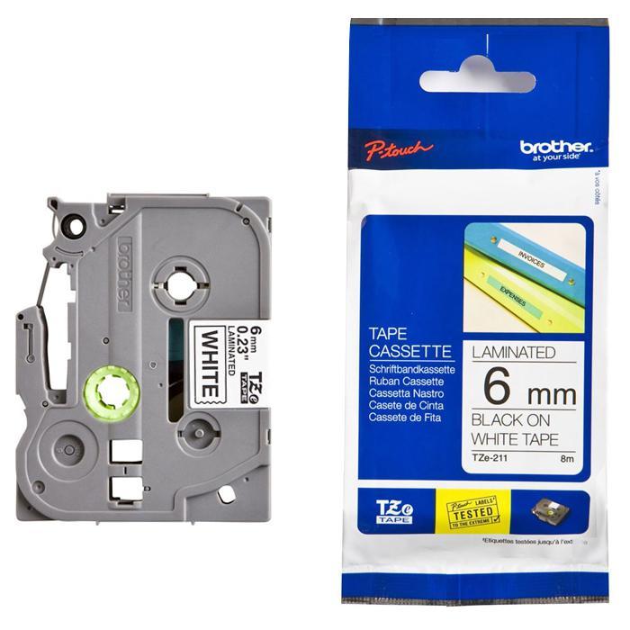 Brother Tape Cassette Black on White 6mm TZE-211