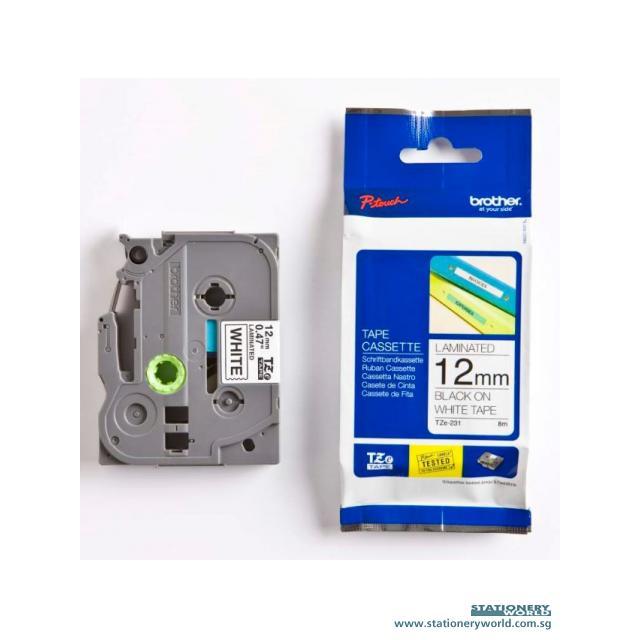 Brother Tape Cassette Black on White 12mm TZE-231