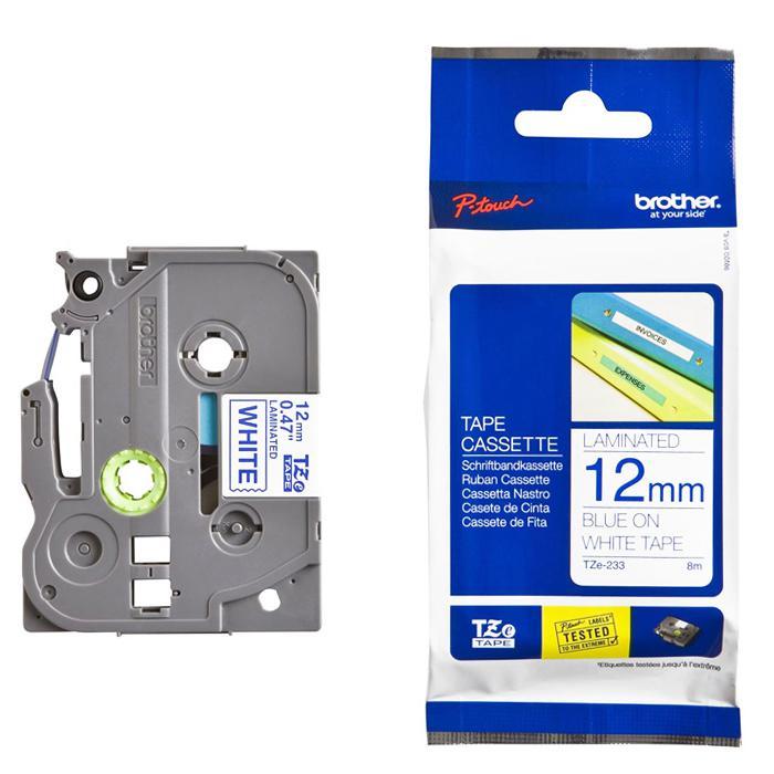 Brother Tape Cassette Blue on White 12mm TZE-233