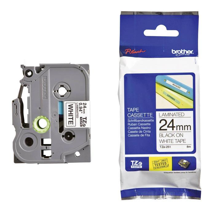 Brother Tape Cassette Black on White 24mm TZE-251
