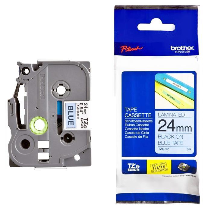 Brother Tape Cassette Black on Blue 24mm TZE-551