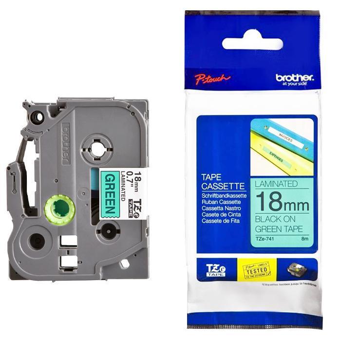 Brother Tape Cassette Black on Green 18mm TZE-741