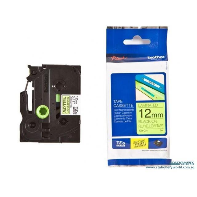 Brother Tape Cassette Black on Fluorescent Yellow 12mm TZE-C31