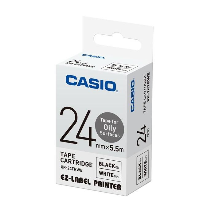 Casio EZ Label for Oily Surface Tape Cartridge 24mm Black On White XR-24TRWE