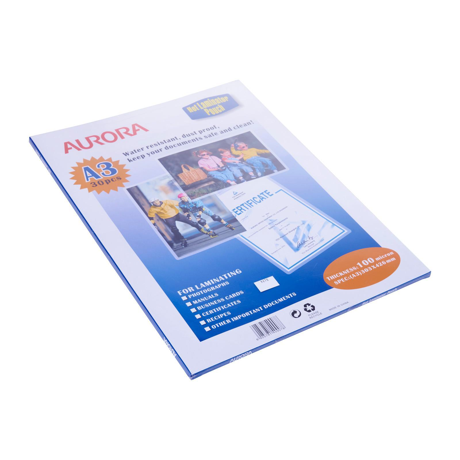Aurora Laminating Pouch Sheets A3 100 Microns 30 Pcs