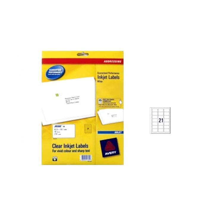 Avery Inkjet Clear Transparent Labels 63.5 x 38.1mm J8560-25