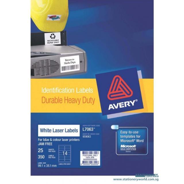 Avery Laser Heavy Duty White Labels 99.1 x 38.1mm L7063-25