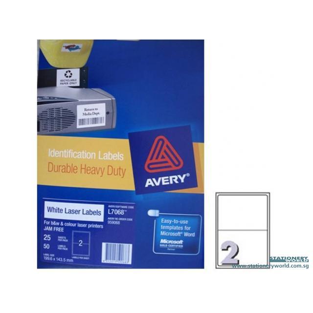 Avery Laser Heavy Duty White Labels A5 L7068-25