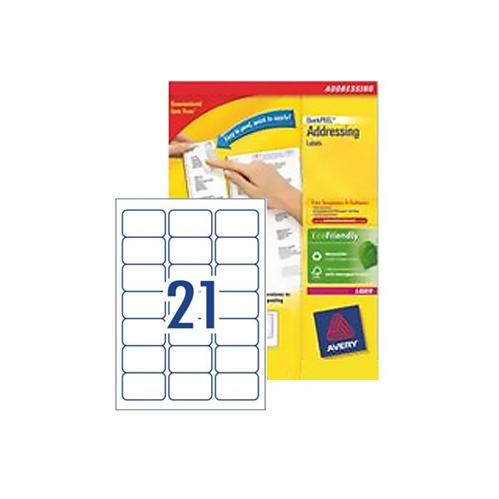 Avery Laser White Labels 63.5 x 38.1mm L7160 -100