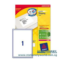 Avery Laser White Labels 199.6 x 289.1mm L7167-100