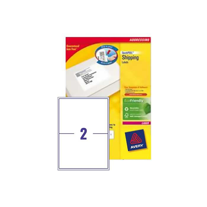 Avery Shipping White Labels 199.6 x 143.5mm L7168 -100