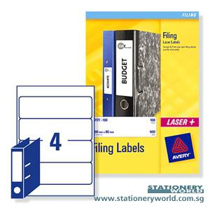 Avery Arch File Spine White Labels 200 x 600mm L7171-25