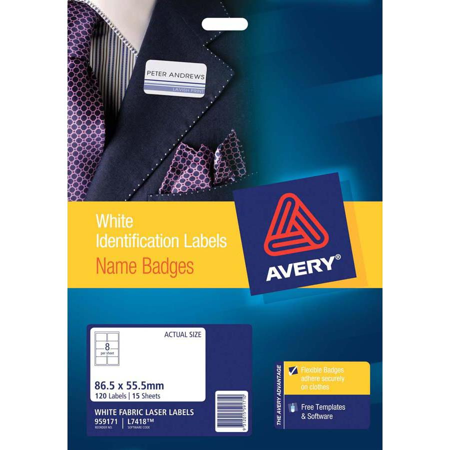 Avery Fabric Name Badge Labels L7418-15
