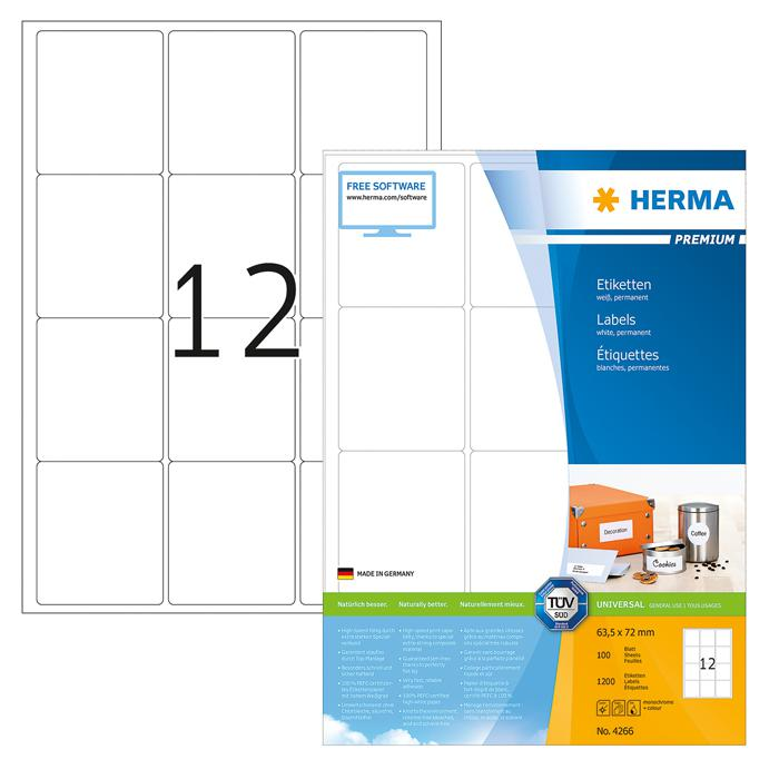 HERMA Premium White Labels 63.5 x 72mm 4266